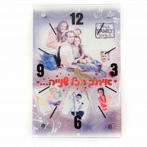 שעון קיר זכוכית עם תמונה